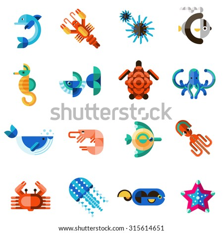 Sea creatures underwater animal life set with dolphin seahorse fish crab isolated  illustration - stock photo