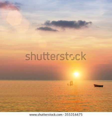 Sea during beautiful sunset in the Gulf of Thailand.