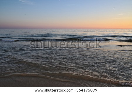 Sea during twilight hours. Photo taken near Quinta do Lago, Algarve, Portugal