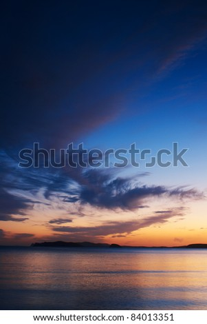 Sea evening coast line and horizon and sunset - stock photo