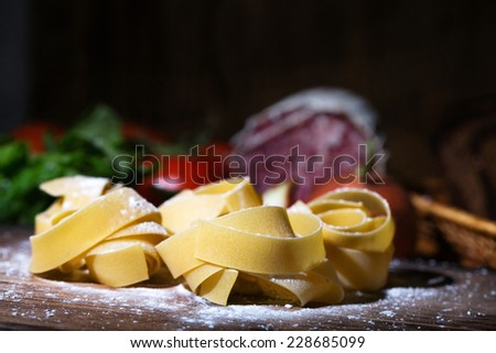 Sea fish with  on a wooden table  - stock photo