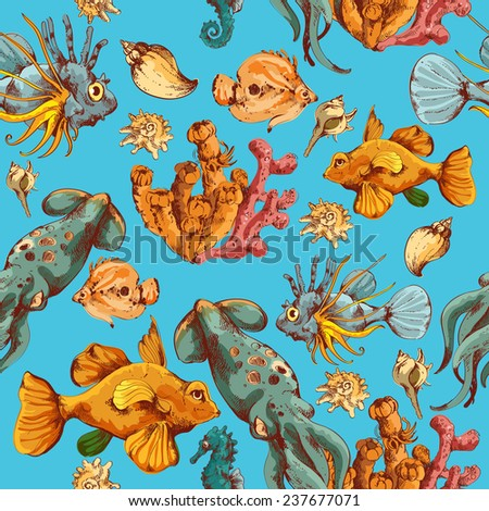 Sea fishes and ocean creatures sketch colored seamless pattern  illustration - stock photo