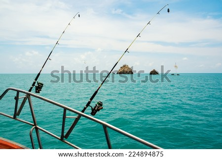Sea fishing from the boat, the thrown rods