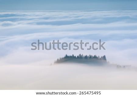 sea fog covers the mountain  - stock photo