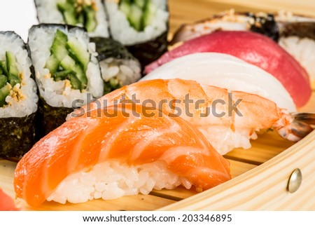 Sea food combination close-up background - stock photo