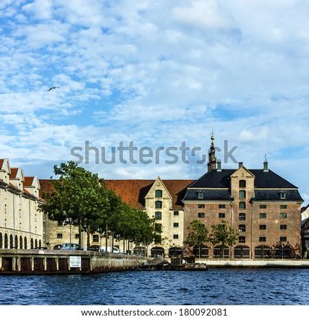 Sea front and historical buildings in Copenhagen, Denmark - stock photo