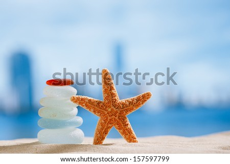 sea glass and starfish  with ocean , beach and cityscape, shallow dof - stock photo