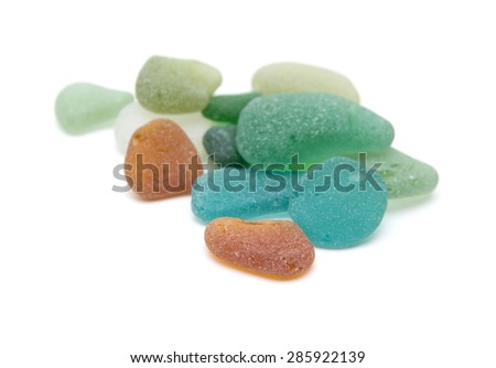 sea glass pieces isolated on white background - stock photo