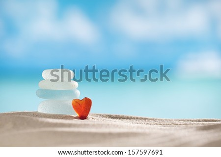 sea glass seaglass with ocean , beach and seascape, shallow dof - stock photo