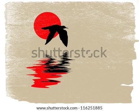 sea gull silhouette on grunge background - stock photo
