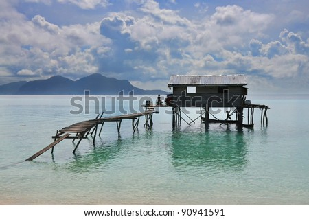Sea gypsies house on stilts at Semporna, Sabah, Malaysia - stock photo