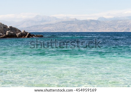 Sea harbor with blue water - stock photo