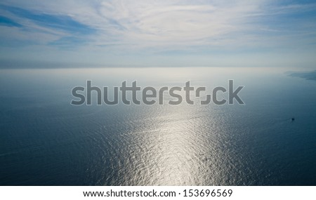 Sea horizon with a bird's eye view - stock photo