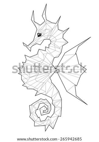 Sea horse. Low polygon linear illustration - stock photo