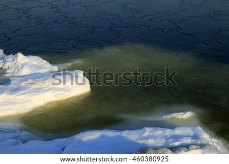 Sea ice natural landscape