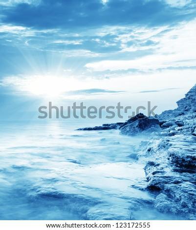 Sea in Crimea, sea coast - stock photo