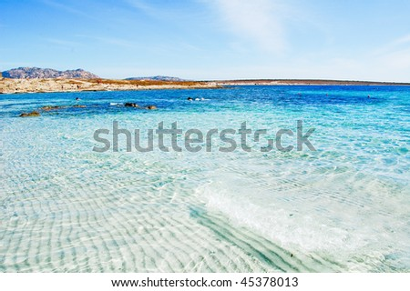 Sea in sardegna on sunny day - stock photo