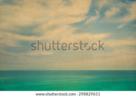 Sea in the summer blue sky, retro or vintage style - stock photo