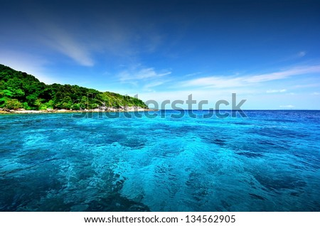 sea island beach clear water bay coast landscape blue sky for relaxation and postcard calendar in thailand - stock photo
