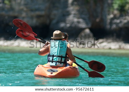 sea kayak in thai ocean ko samui surat thani. - stock photo
