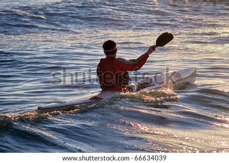 sea kayaking - stock photo