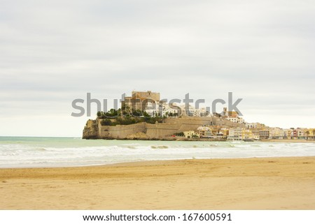 Sea landcape in Peniscola - stock photo