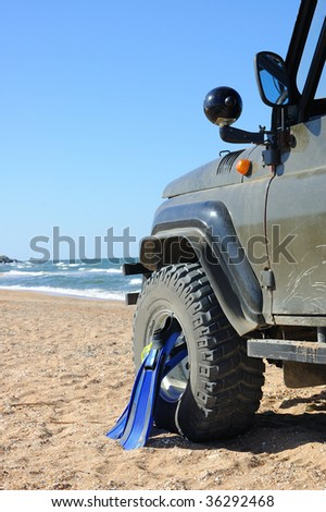 Sea landscape. Active leisure by the wild nature - stock photo