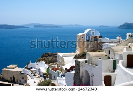 Sea landscape and white houses on Santorini island