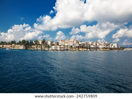 Sea landscape horizon .Panoramic view of Corfu old town. - stock photo