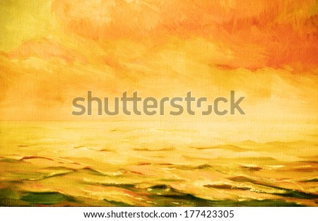 sea landscape,  illustration, painting by oil on a canvas - stock photo