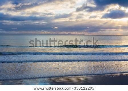 sea landscape, location - Wellington, North Island, New Zealand - stock photo
