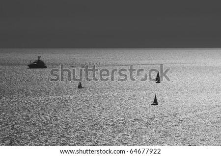 Sea landscape of Corsica, France. Black and white - stock photo