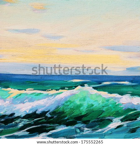 sea landscape, painting by oil on canvas, illustration - stock photo