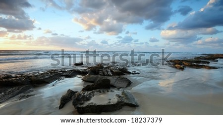 Sea landscape, sunset - stock photo