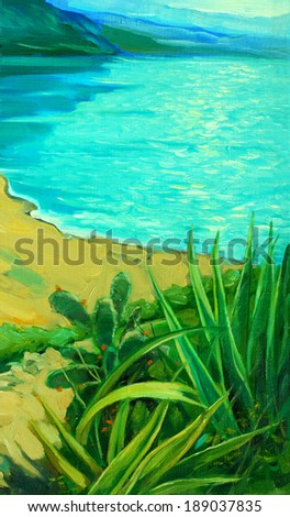 sea landscape with a beach, painting,  illustration - stock photo