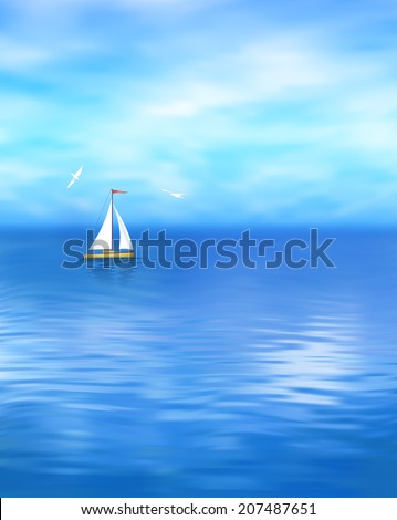 Sea landscape with blue sky, cloud, yacht, gull, wave water - stock photo
