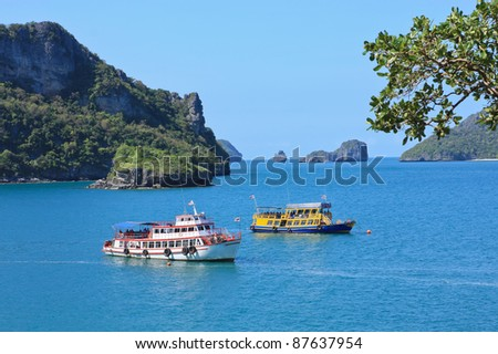 Sea landscape with boat in Thailand
