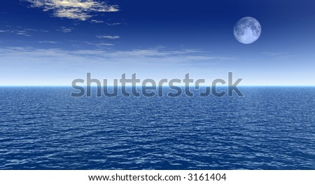 Sea landscape with full moon - digital artwork - stock photo