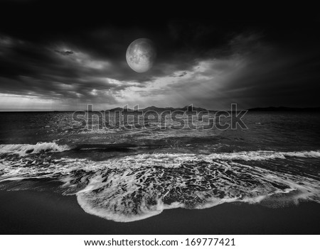 sea landscape with moon - stock photo