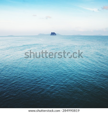 sea landscape with rock island, Gulf of Thailand at morning - stock photo