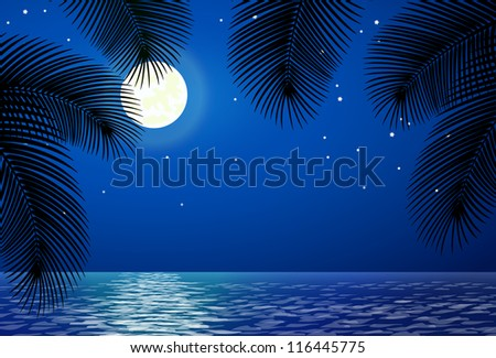 Sea landscape with the moon and palm trees.  Raster version. - stock photo