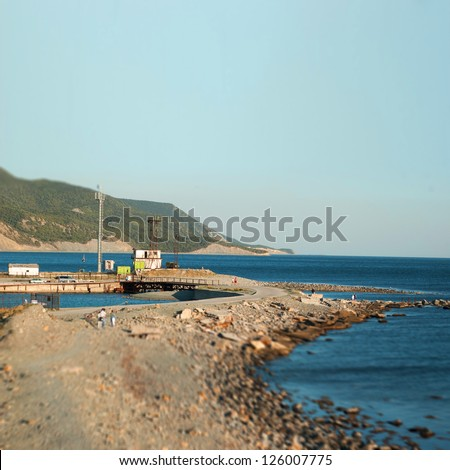 sea landscape with tilt-shift effect - stock photo