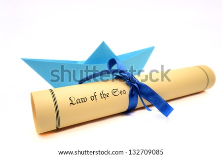 Sea laws, marine laws, navigational regulations, United Nations Convention on the Law of the Sea - stock photo