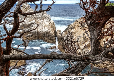 Sea Lion Cove at Point Lobos State Natural Reserve, with aquamarine waters & rock formations along the rugged Big Sur coastline, near Carmel and Monterey, CA. on the California Central Coast - stock photo