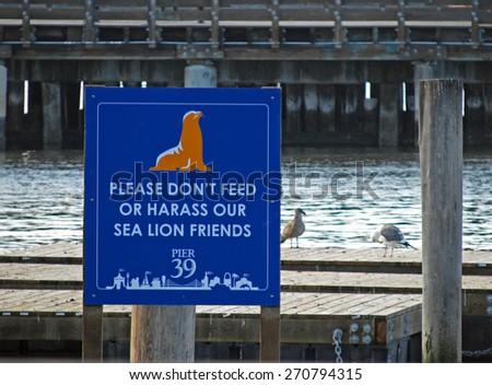 Sea Lions Pier 39 San Francisco California Notice Sign - stock photo