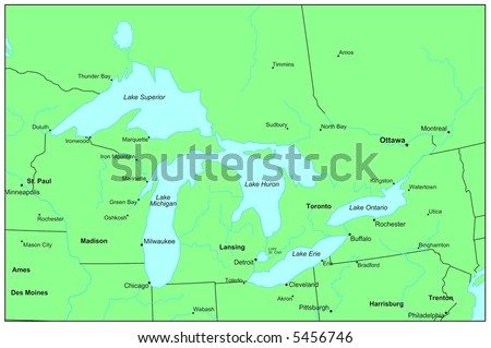 Great Lakes Map Stock Images RoyaltyFree Images Vectors - Great lakes labeled map