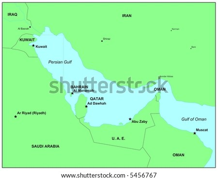 Sea maps series: Persian Gulf - stock photo
