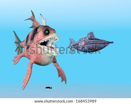 Sea Monster and Submarine Computer generated 3D illustration - stock photo