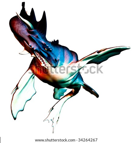 Sea Monster Dragon against a clean white background, illustration