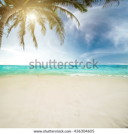 Sea morning panorama. Tropical composition - stock photo